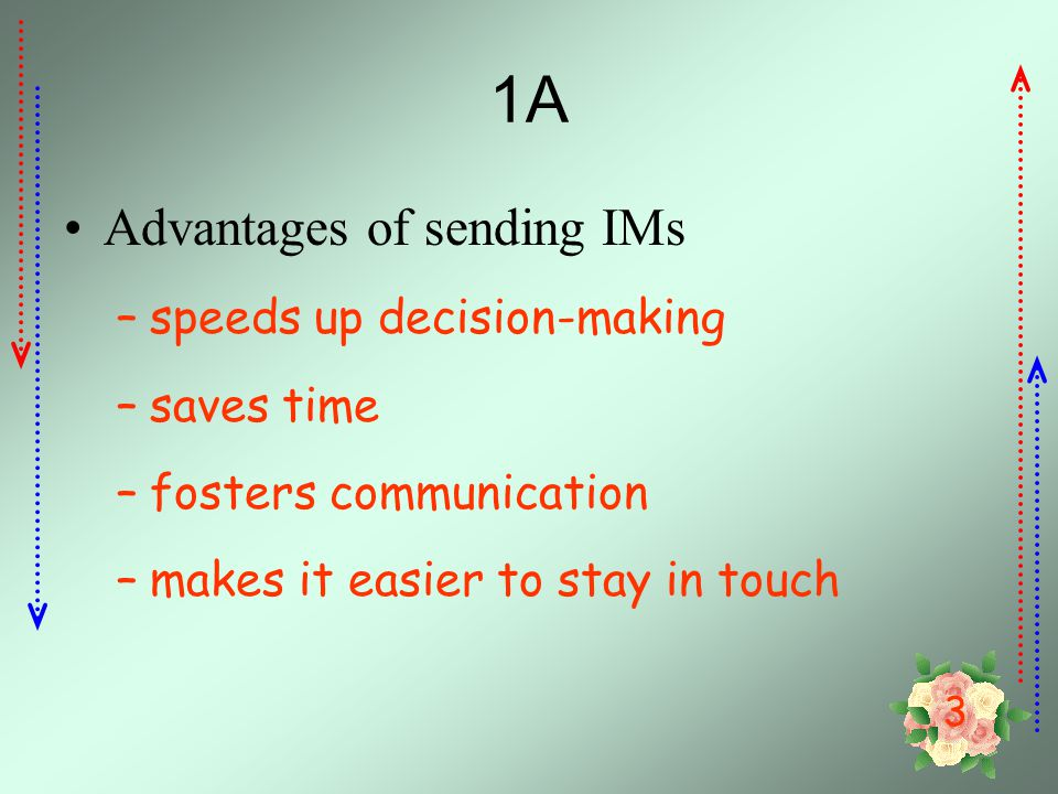 1A Advantages of sending IMs speeds up decision-making saves time