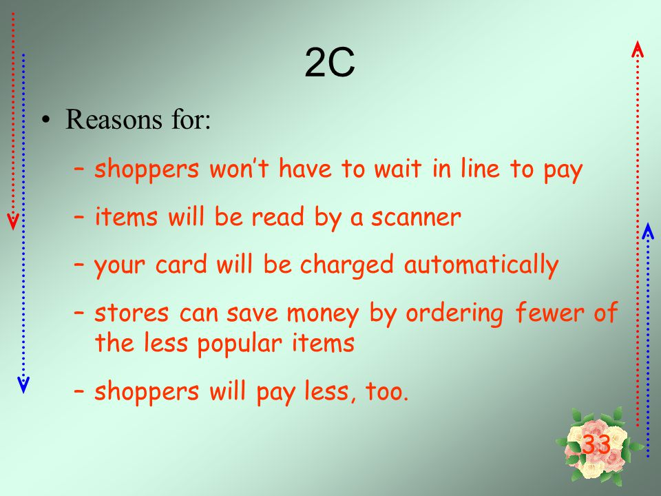 2C Reasons for: shoppers won't have to wait in line to pay