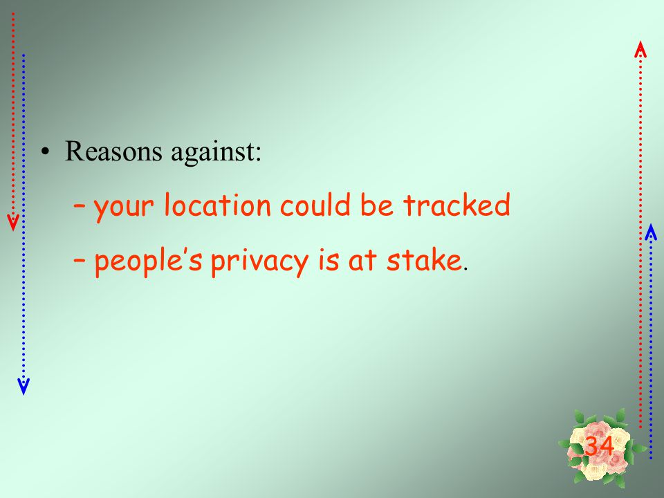 Reasons against: your location could be tracked people's privacy is at stake.