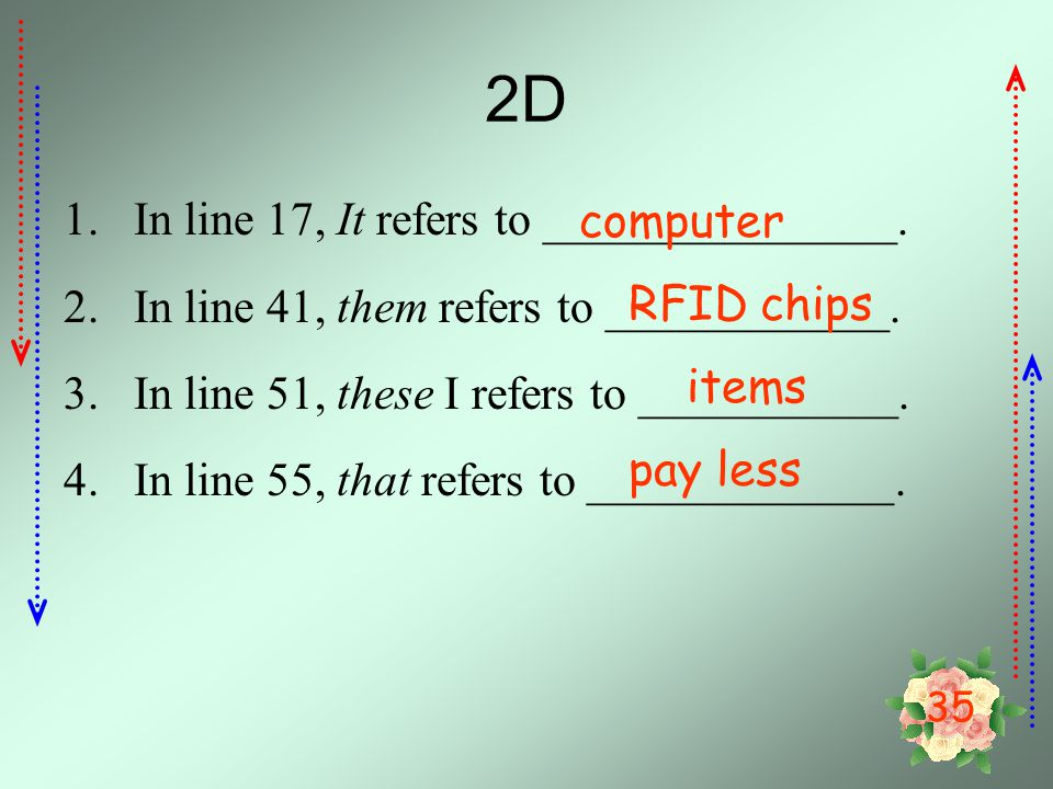 2D In line 17, It refers to _______________. computer