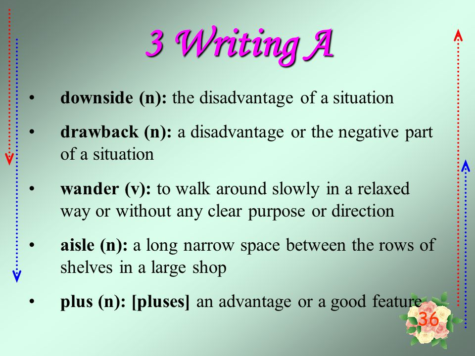 3 Writing A downside (n): the disadvantage of a situation