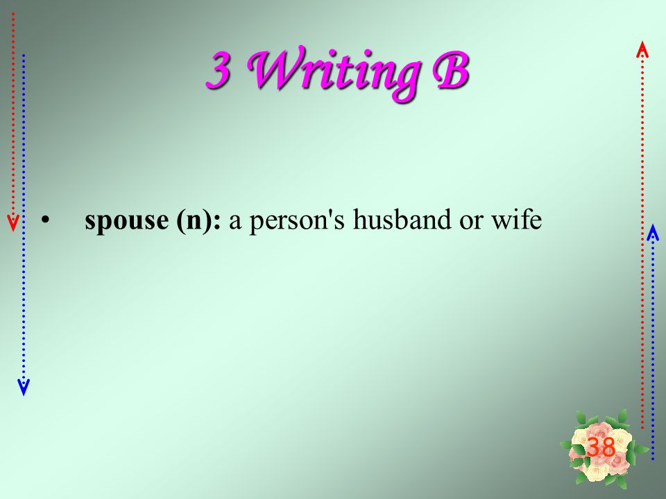 3 Writing B spouse (n): a person s husband or wife