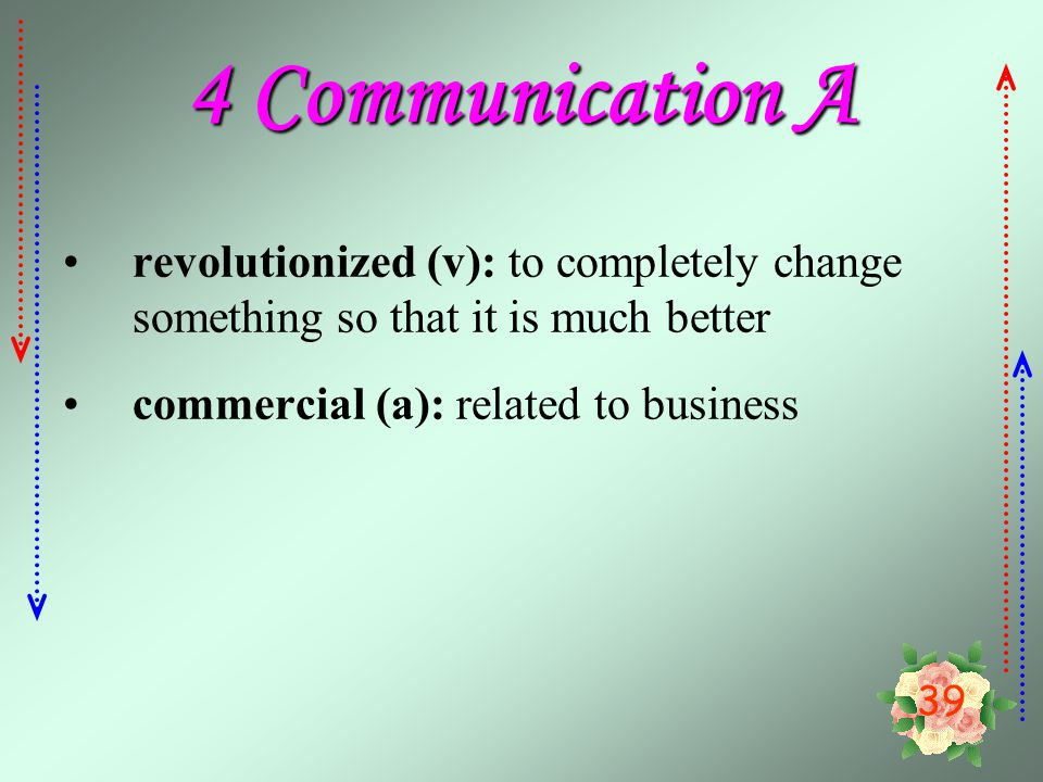 4 Communication A revolutionized (v): to completely change something so that it is much better.