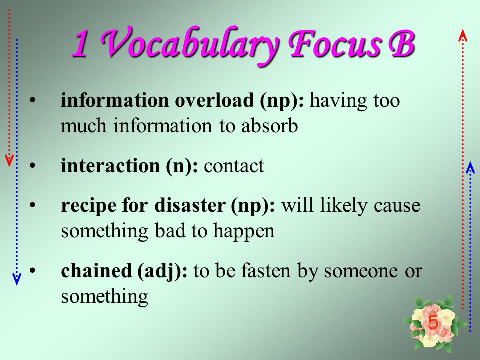 1 Vocabulary Focus B information overload (np): having too much information to absorb. interaction (n): contact.