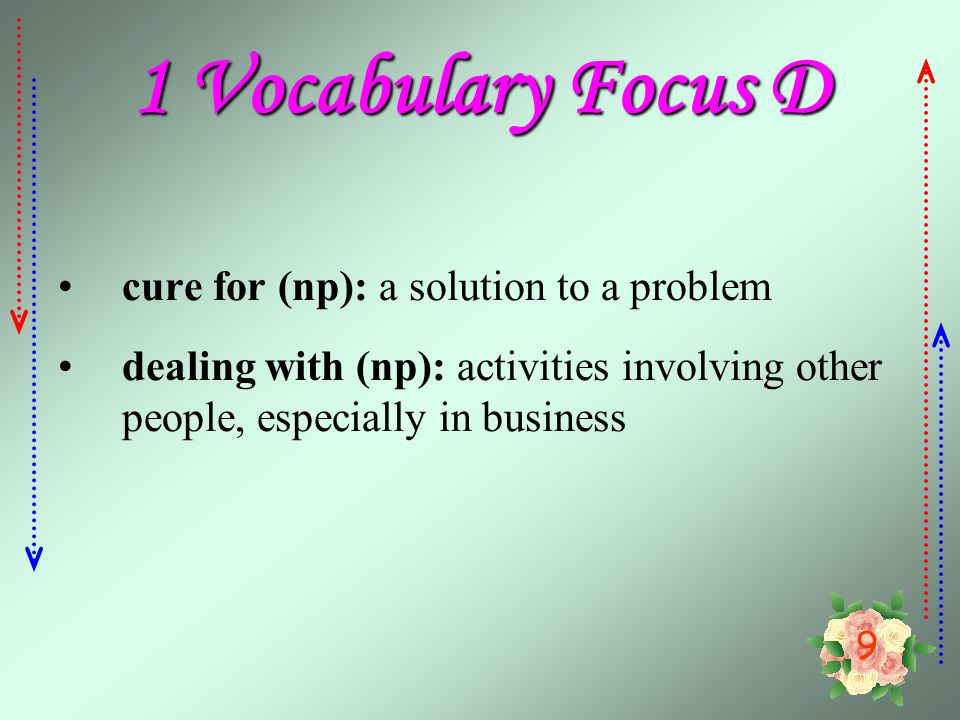 1 Vocabulary Focus D cure for (np): a solution to a problem