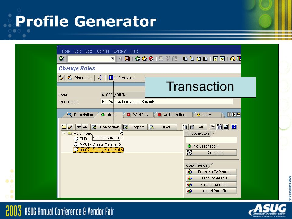 Profile Generator Transaction