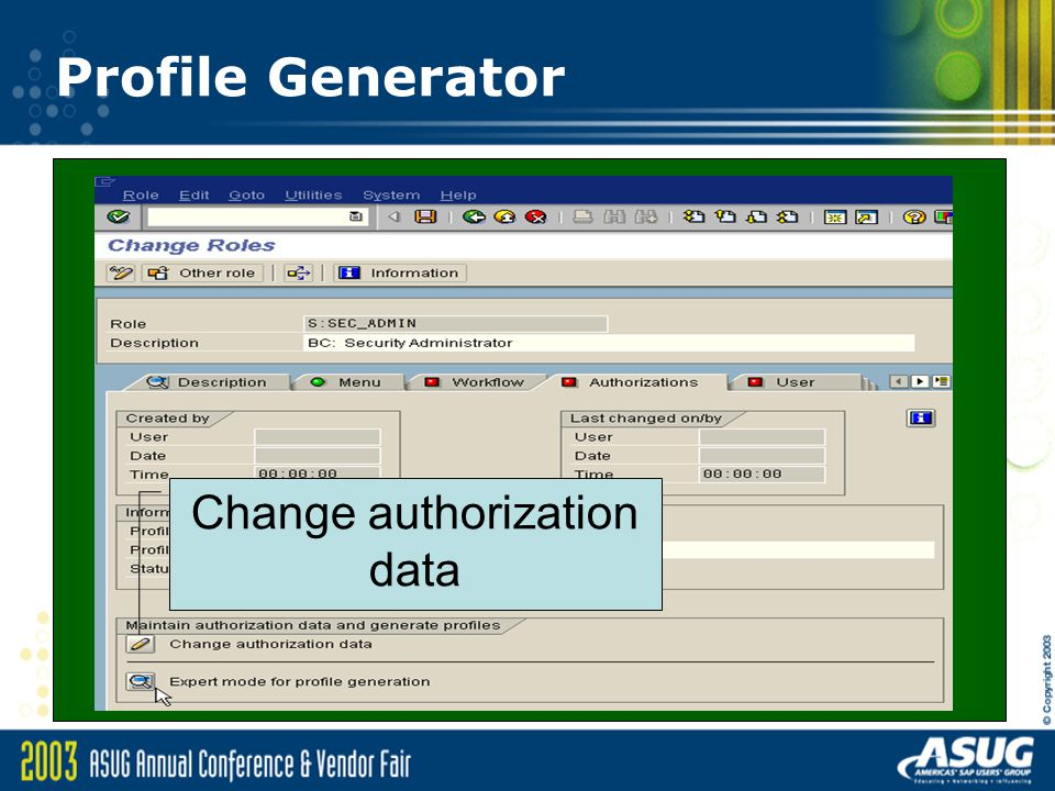 Change authorization data