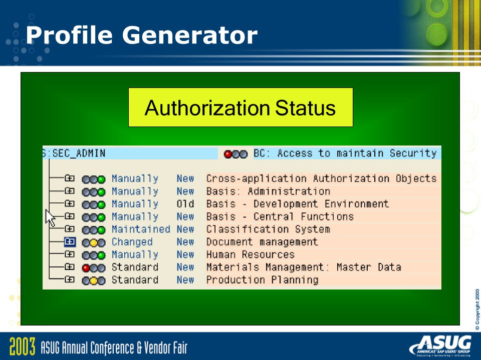 Profile Generator Authorization Status