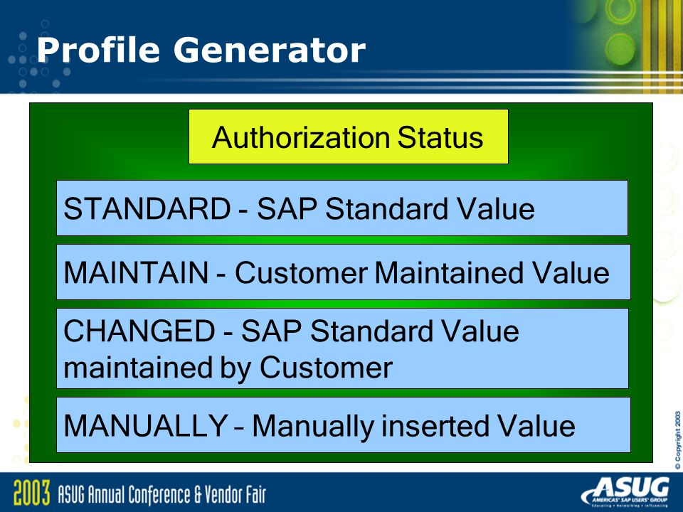 Profile Generator Authorization Status STANDARD - SAP Standard Value