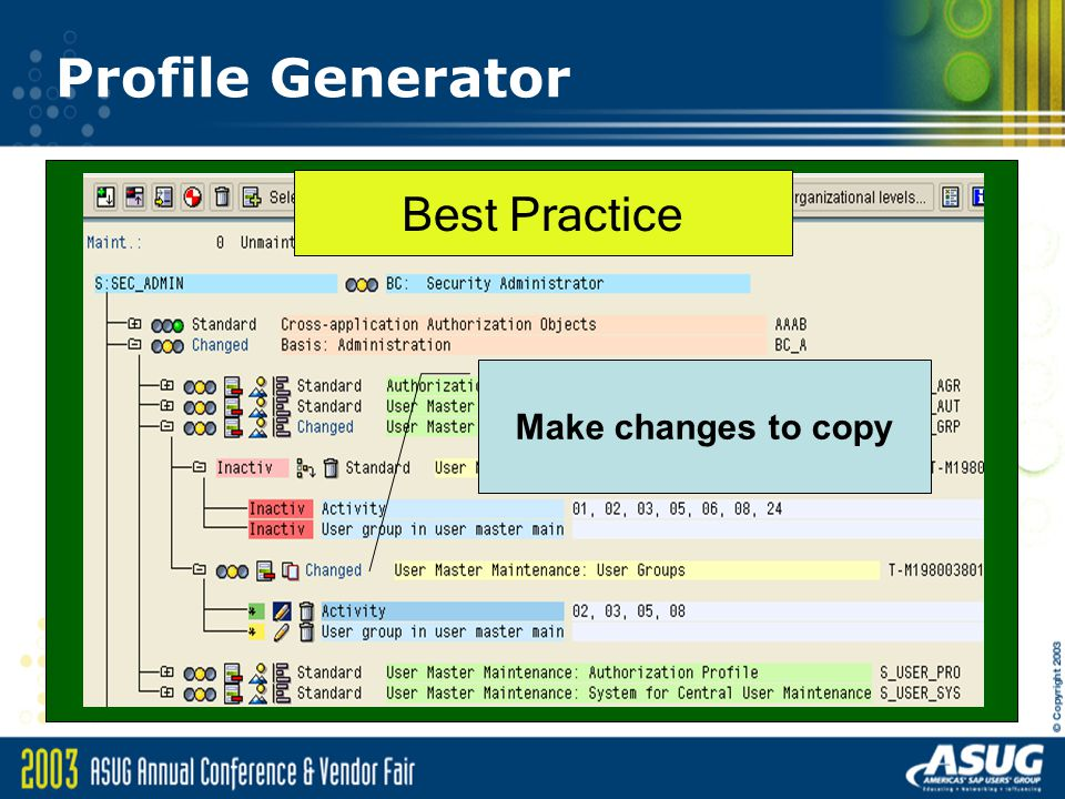Profile Generator Best Practice Make changes to copy
