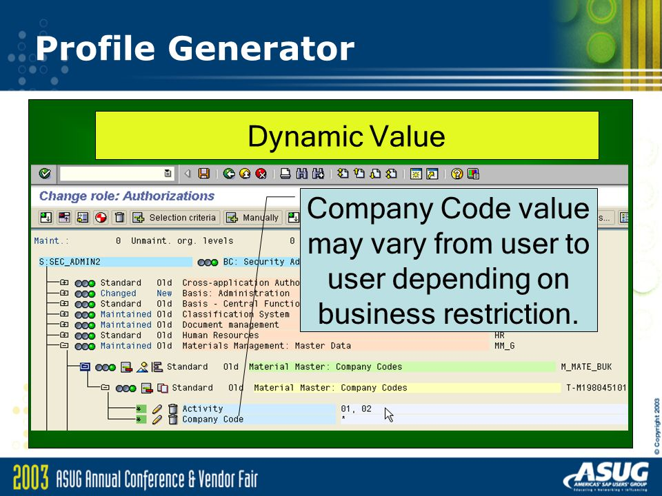 Profile Generator Dynamic Value