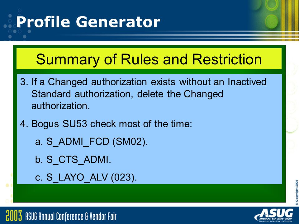 Summary of Rules and Restriction