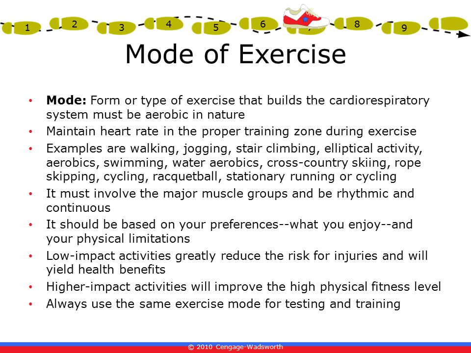 Mode of Exercise Mode: Form or type of exercise that builds the cardiorespiratory system must be aerobic in nature.