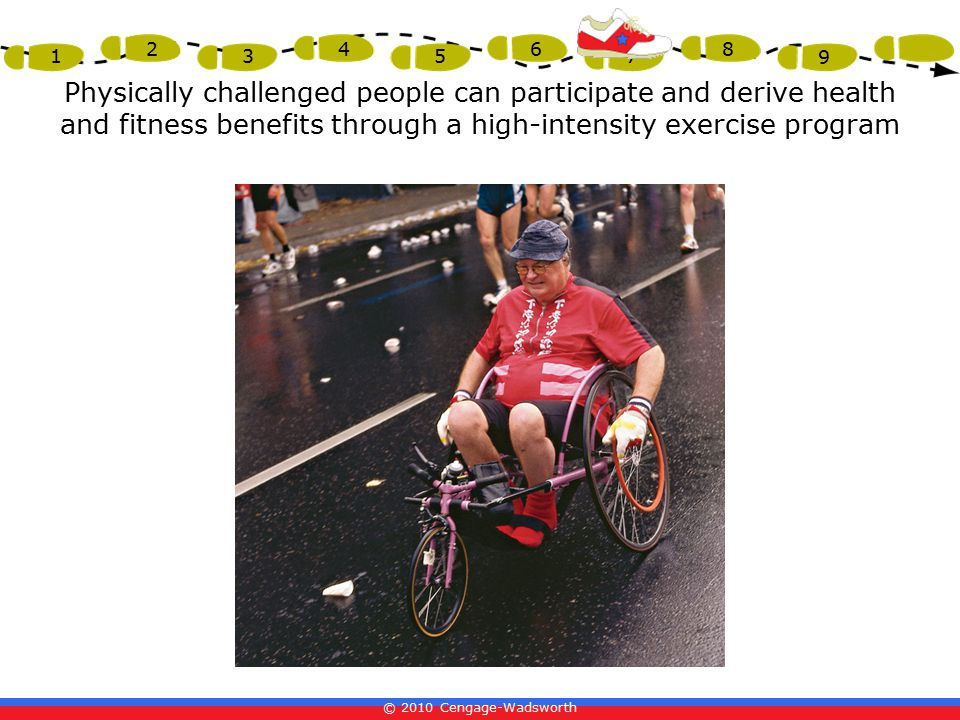 Physically challenged people can participate and derive health and fitness benefits through a high-intensity exercise program