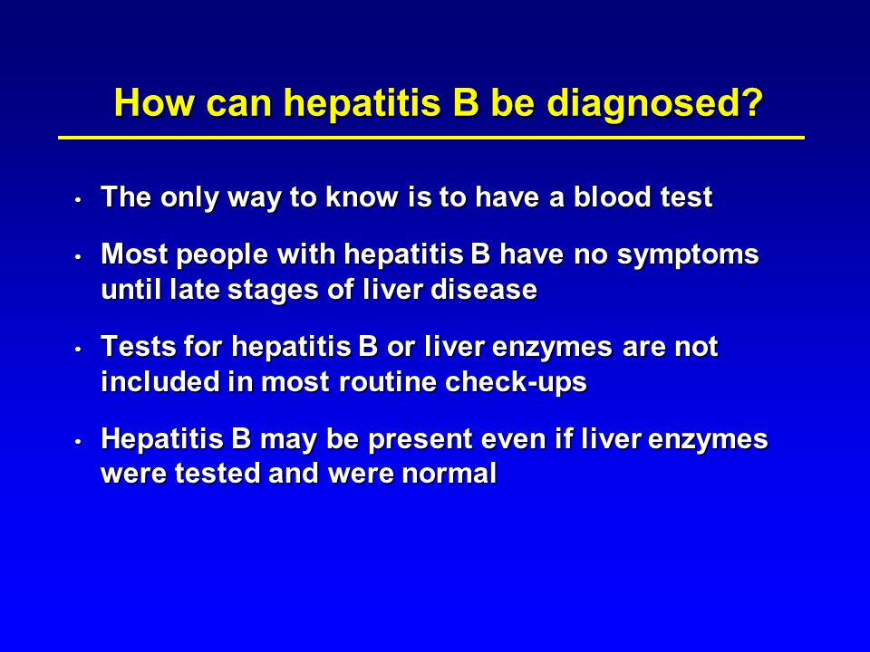 How can hepatitis B be diagnosed