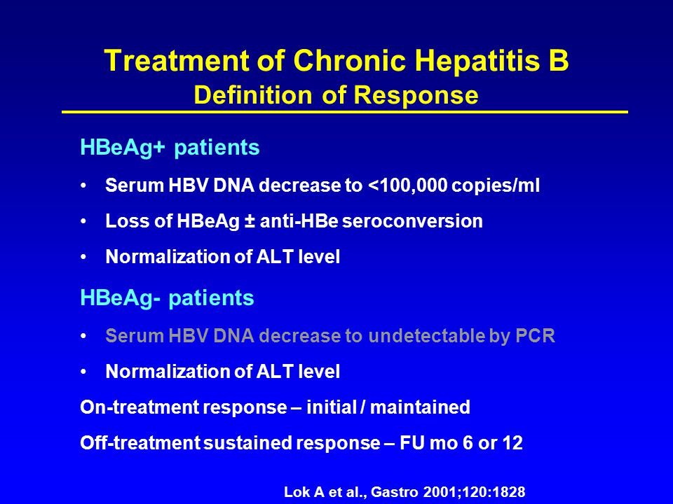 Treatment of Chronic Hepatitis B Definition of Response