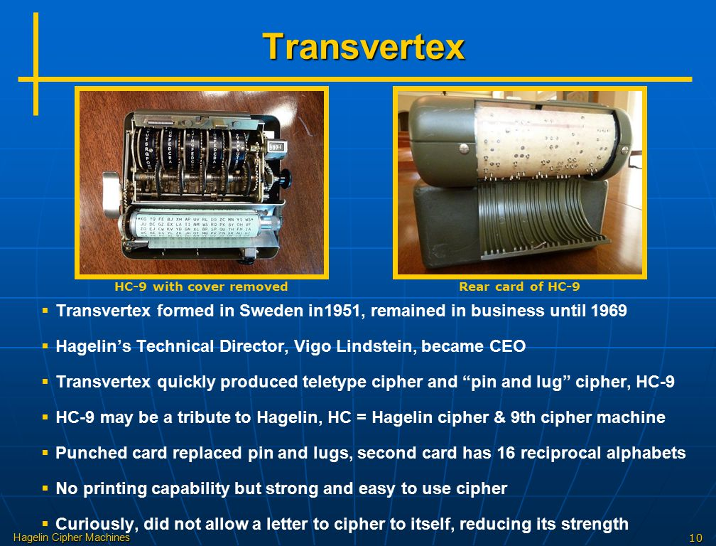 Transvertex HC-9 with cover removed. Rear card of HC-9. Transvertex formed in Sweden in1951, remained in business until 1969.