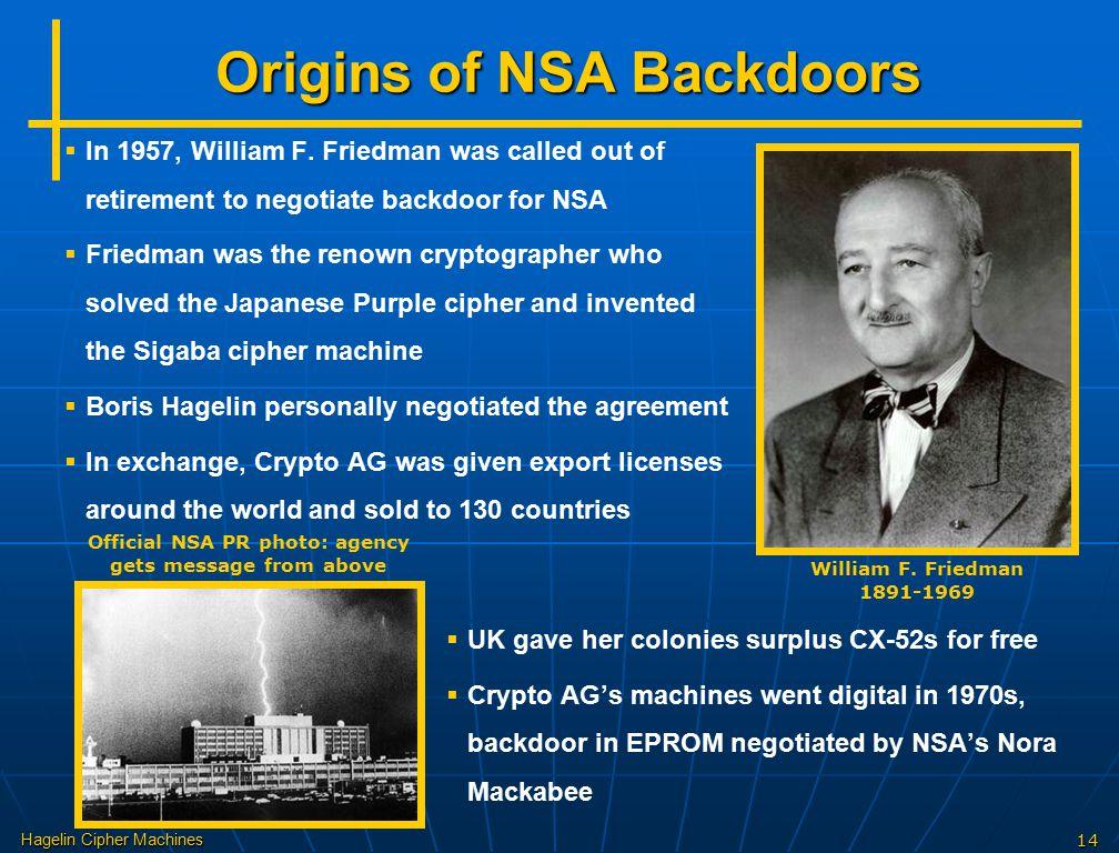 Origins of NSA Backdoors