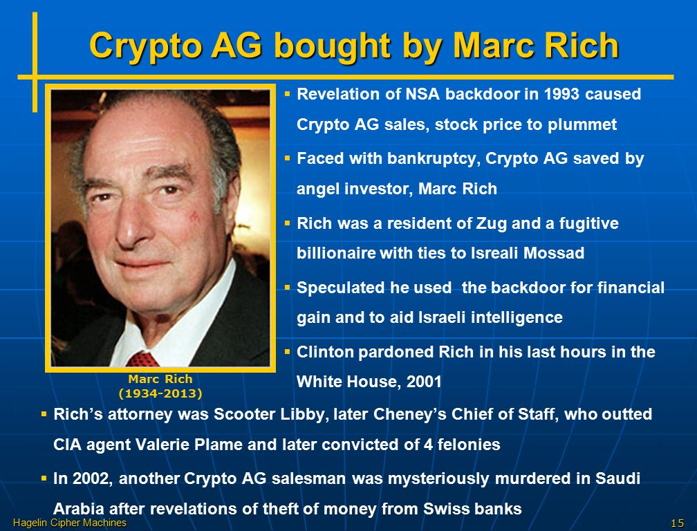 Crypto AG bought by Marc Rich