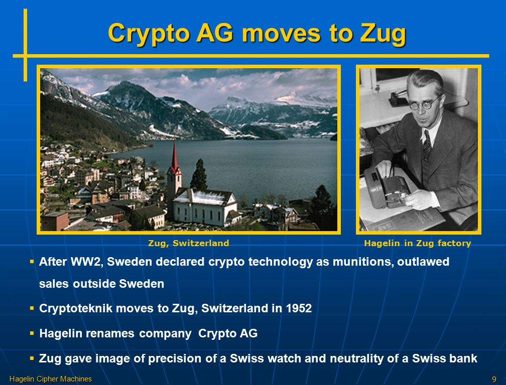 Crypto AG moves to Zug Zug, Switzerland. Hagelin in Zug factory.