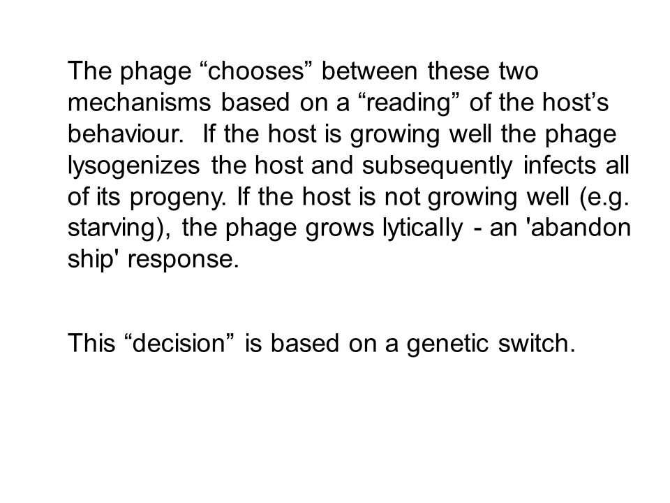 The phage chooses between these two mechanisms based on a reading of the host's behaviour. If the host is growing well the phage lysogenizes the host and subsequently infects all of its progeny. If the host is not growing well (e.g. starving), the phage grows lytically - an abandon ship response.
