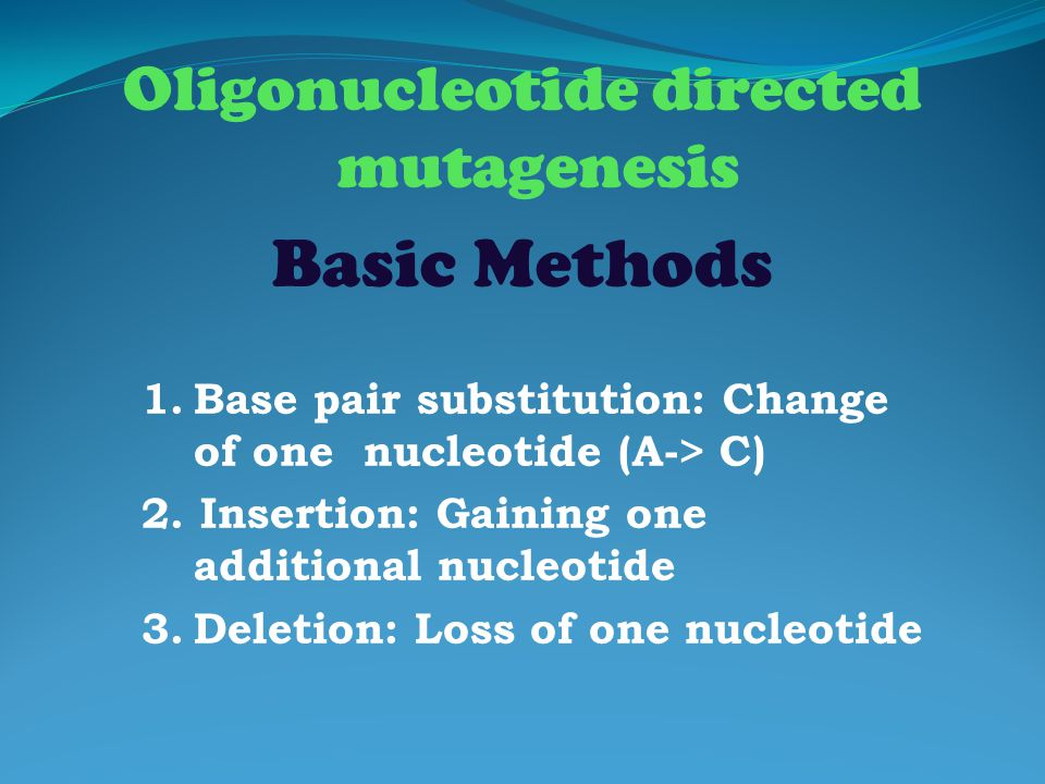 Oligonucleotide directed mutagenesis