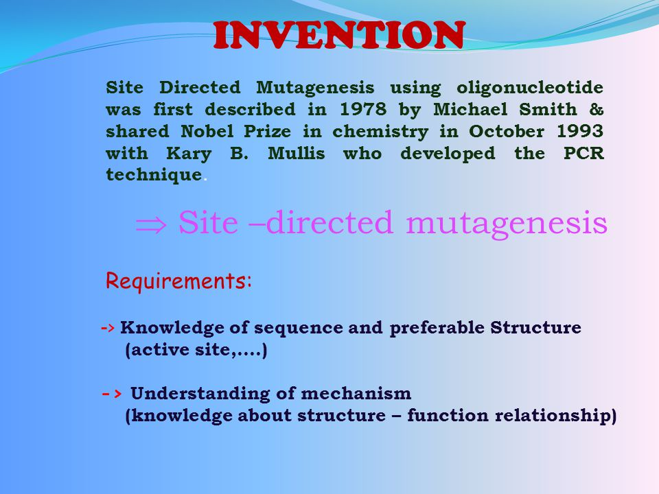  Site –directed mutagenesis