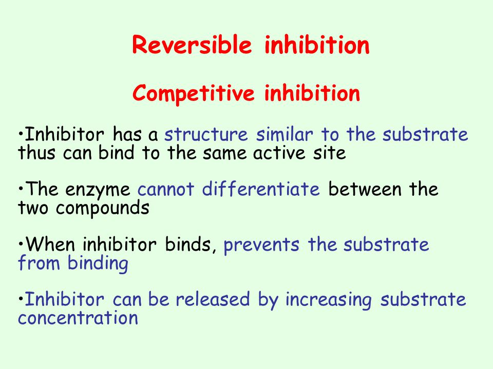 Reversible inhibition Competitive inhibition