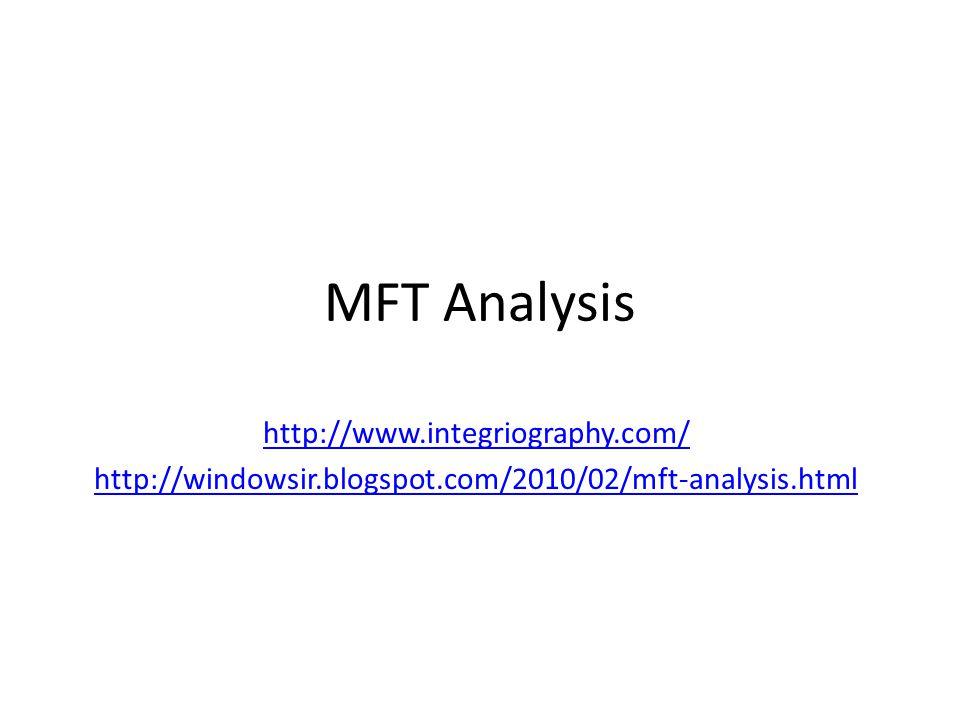 MFT Analysis http://www.integriography.com/