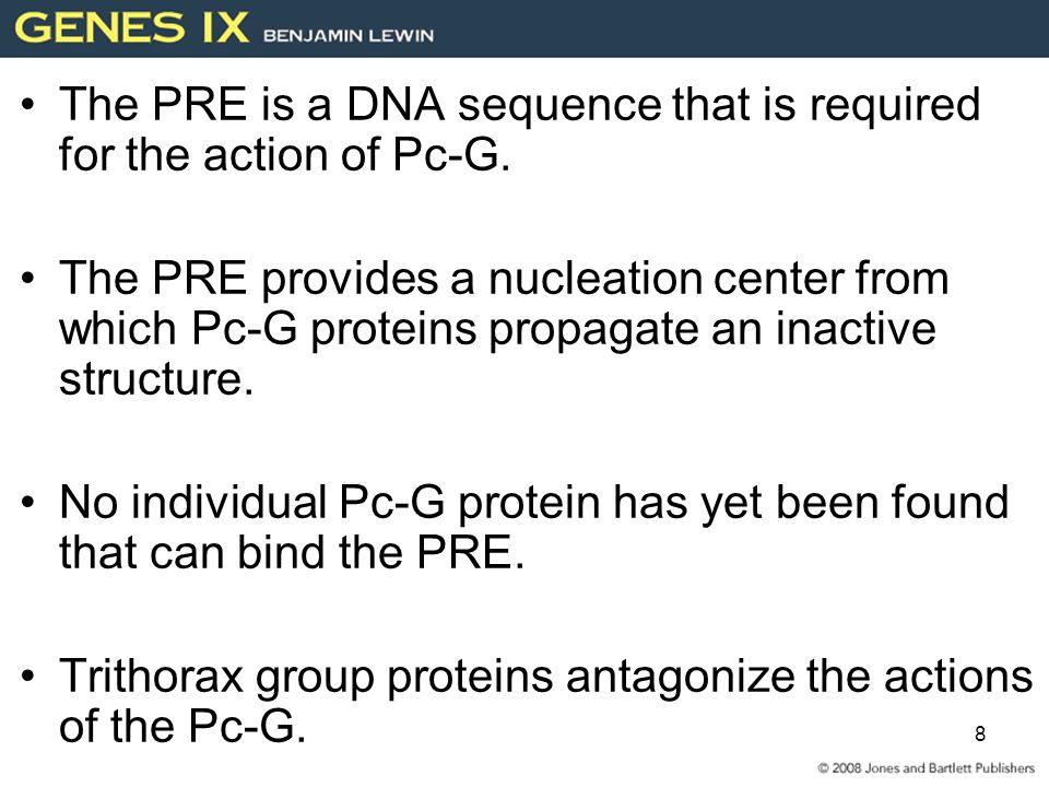 The PRE is a DNA sequence that is required for the action of Pc-G.