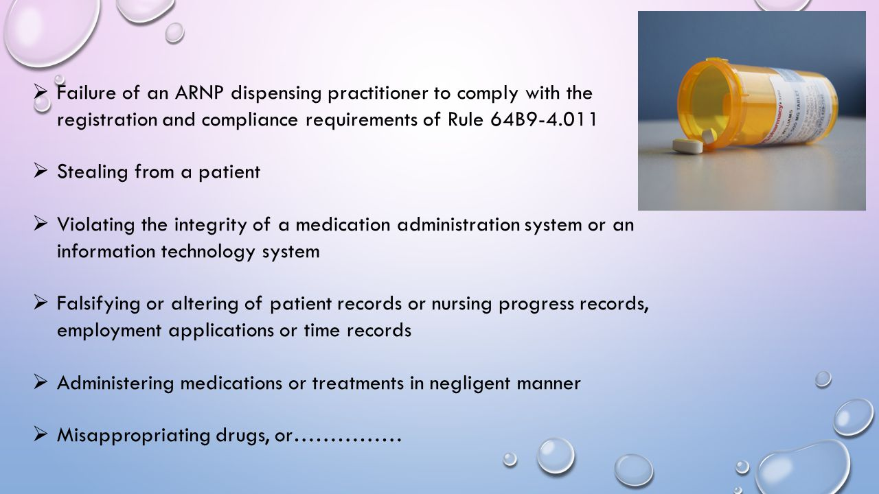 Failure of an ARNP dispensing practitioner to comply with the registration and compliance requirements of Rule 64B9-4.011
