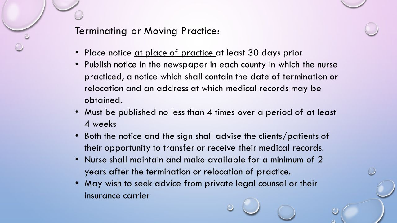Terminating or Moving Practice: