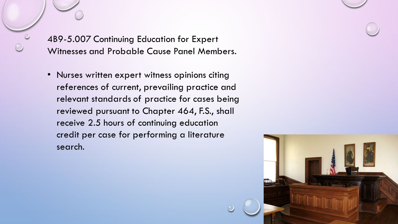 4B9-5.007 Continuing Education for Expert Witnesses and Probable Cause Panel Members.