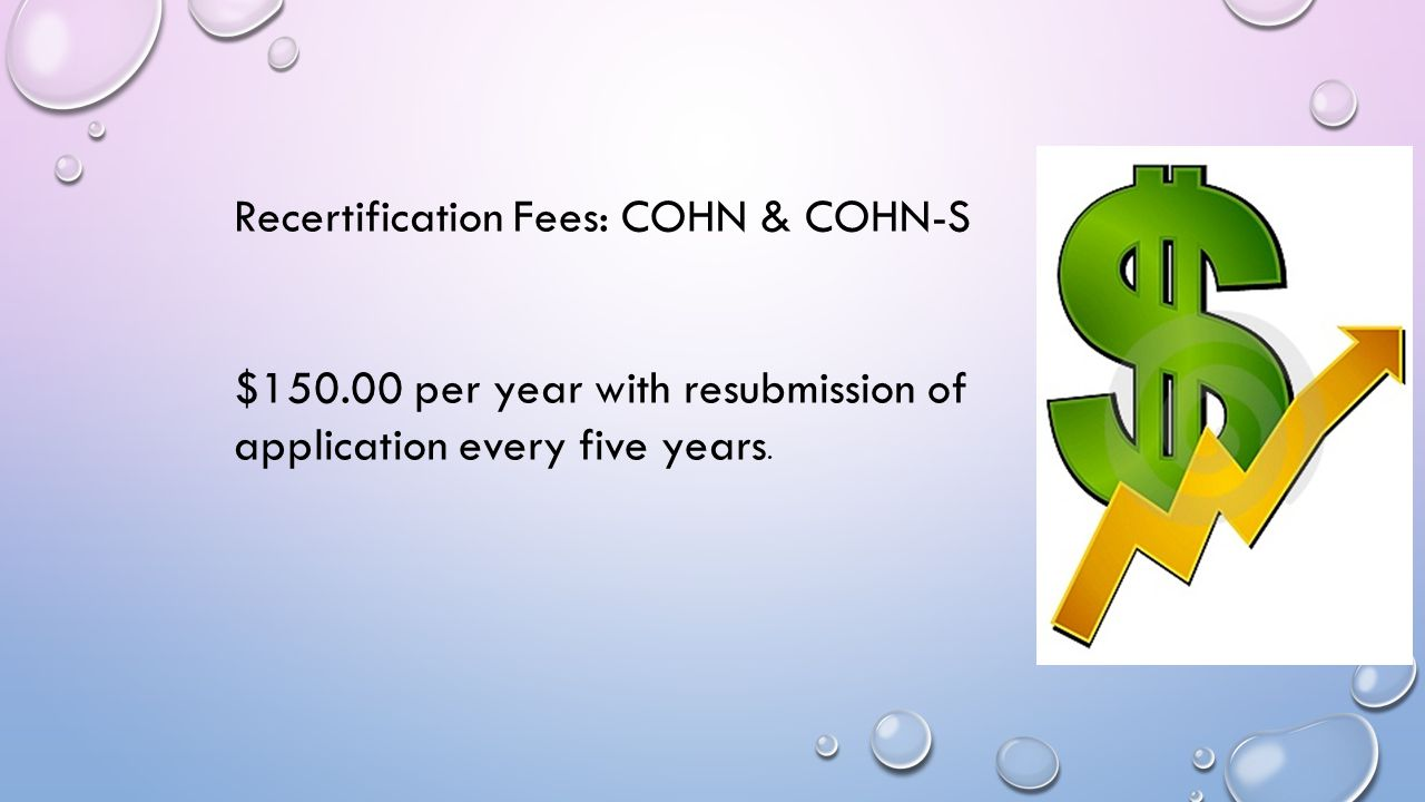 Recertification Fees: COHN & COHN-S