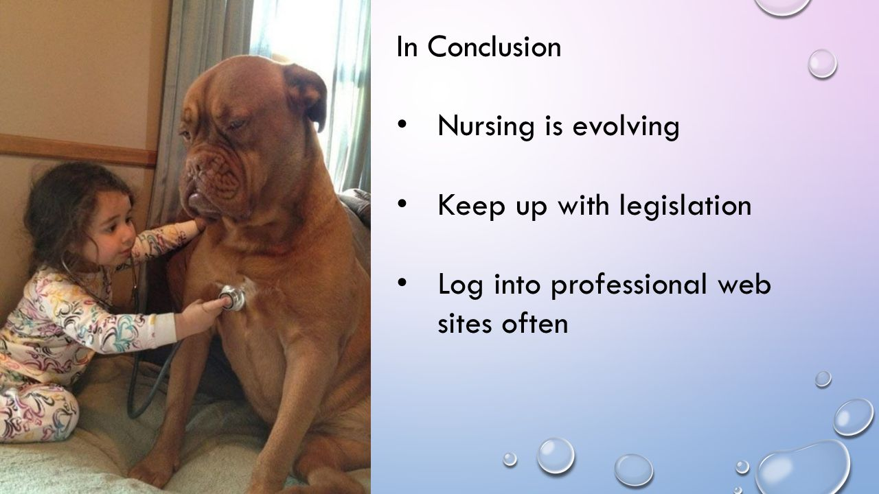 In Conclusion Nursing is evolving Keep up with legislation Log into professional web sites often