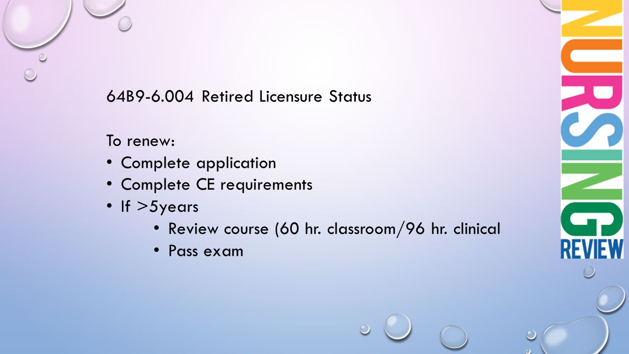 64B9-6.004 Retired Licensure Status