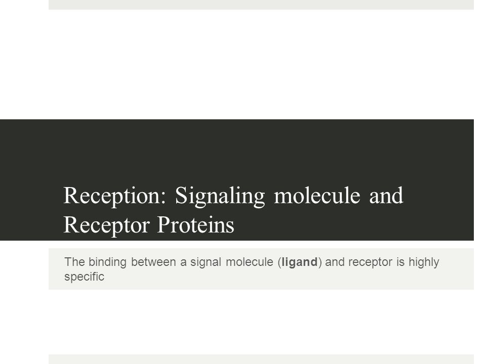 Reception: Signaling molecule and Receptor Proteins