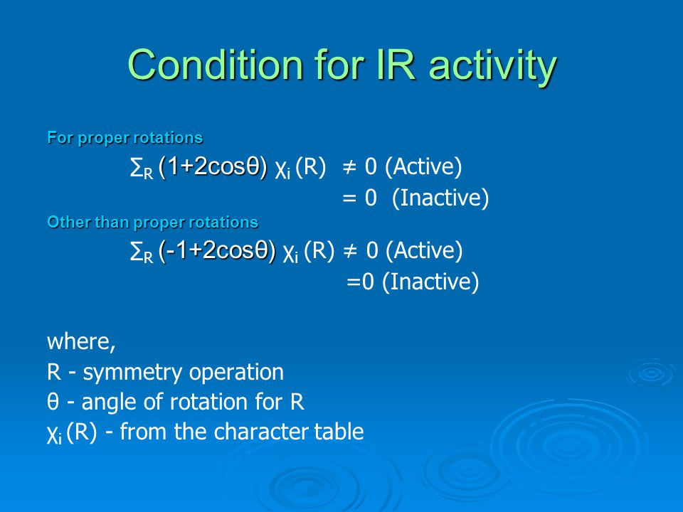 Condition for IR activity