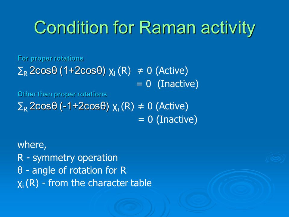 Condition for Raman activity