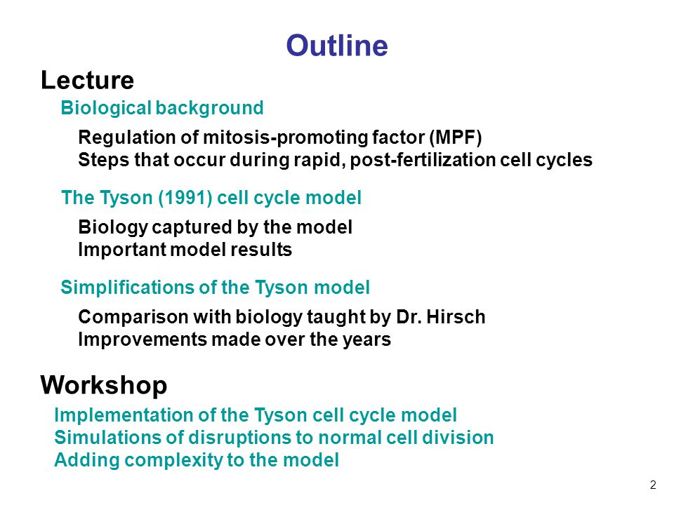 Outline Lecture Workshop Biological background