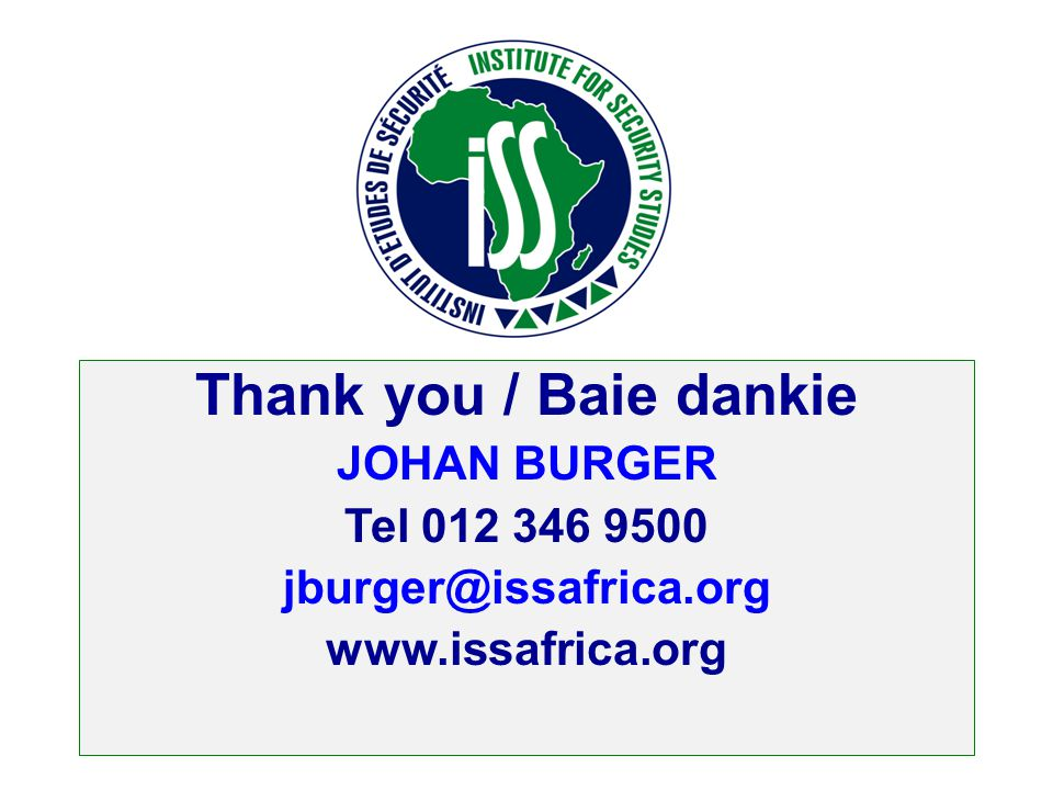 Thank you / Baie dankie JOHAN BURGER Tel 012 346 9500