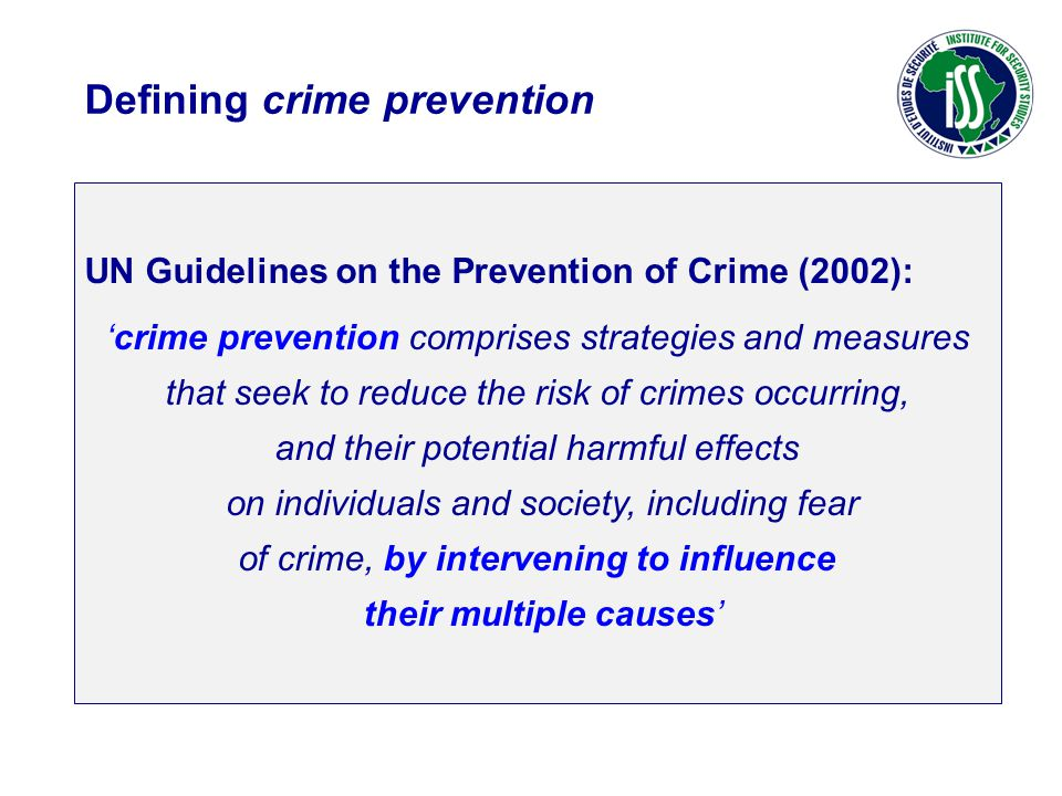 Defining crime prevention