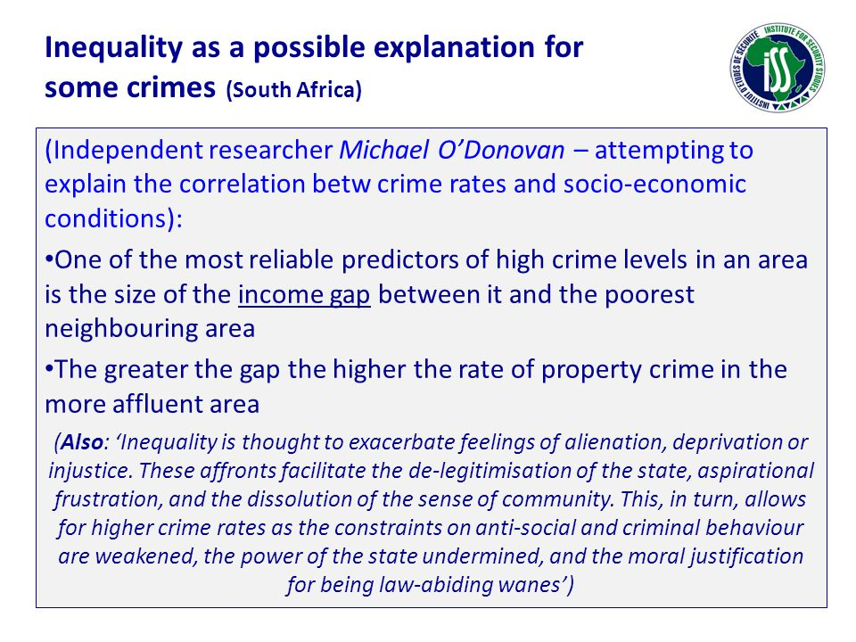Inequality as a possible explanation for some crimes (South Africa)