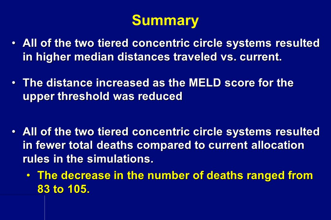Summary All of the two tiered concentric circle systems resulted in higher median distances traveled vs. current.