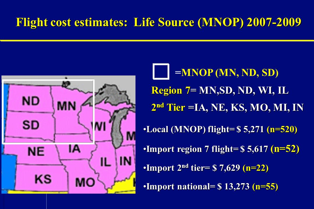 Flight cost estimates: Life Source (MNOP) 2007-2009