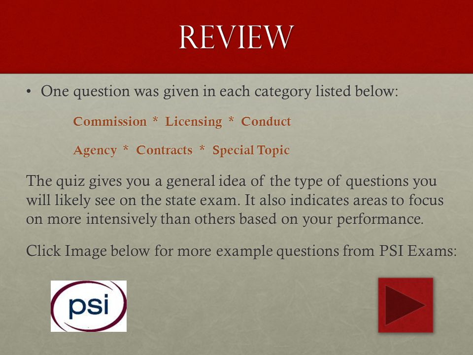 Review One question was given in each category listed below: