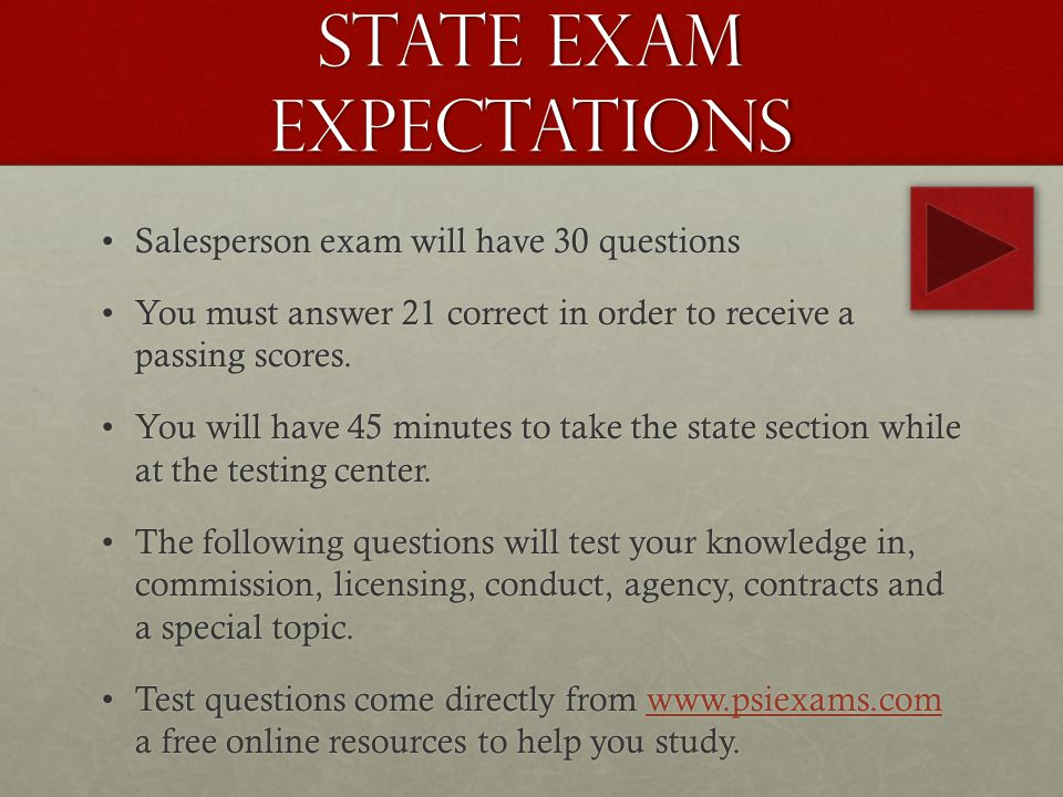 State Exam Expectations