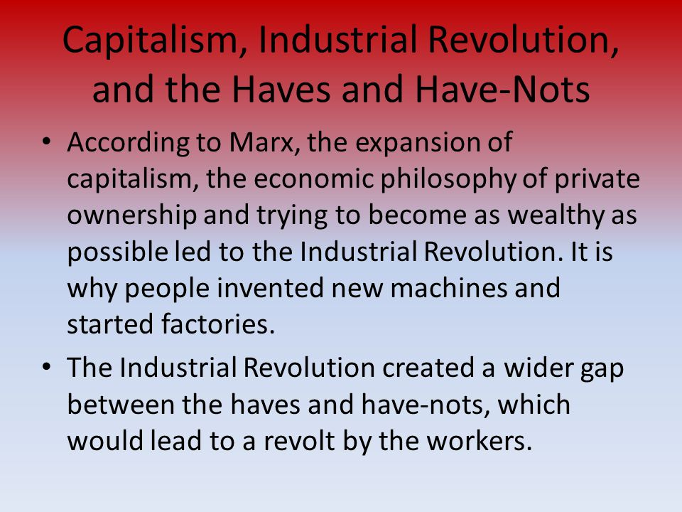 Capitalism, Industrial Revolution, and the Haves and Have-Nots