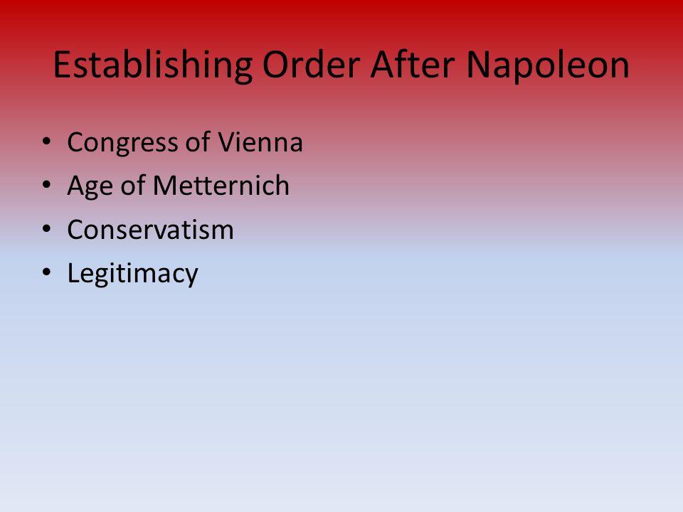 Establishing Order After Napoleon