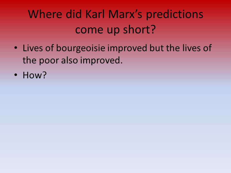 Where did Karl Marx's predictions come up short